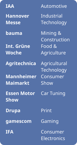 IAA  Hannover Messe  bauma  Int. Grüne Woche  Agritechnica  Mannheimer Maimarkt  Essen Motor Show  Drupa  gamescom  IFA Automotive  Industrial Technology  Mining & Construction Food & Agriculture  Agricultural Technology Consumer Show  Car Tuning   Print  Gaming  Consumer Electronics